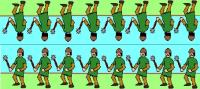A row of green infantry